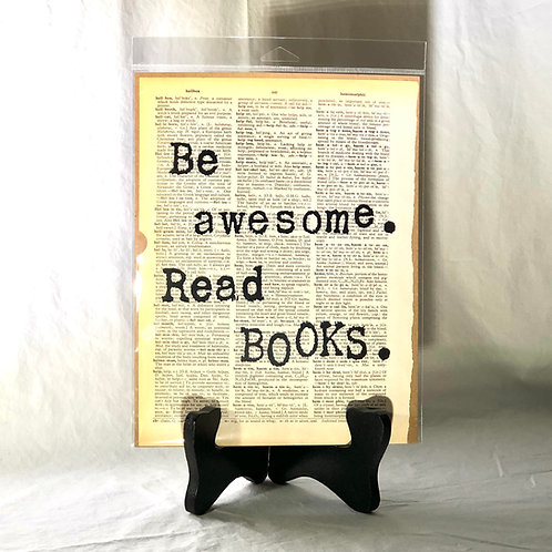 Be Awesome. Read Books. Dictionary Page Print
