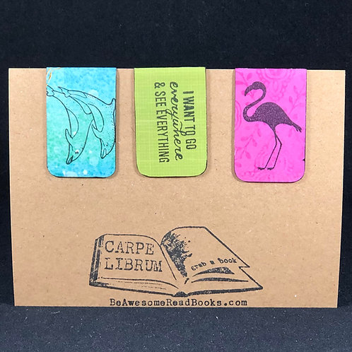 Flamingo and Dolphin Magnetic Bookmark Gift Set