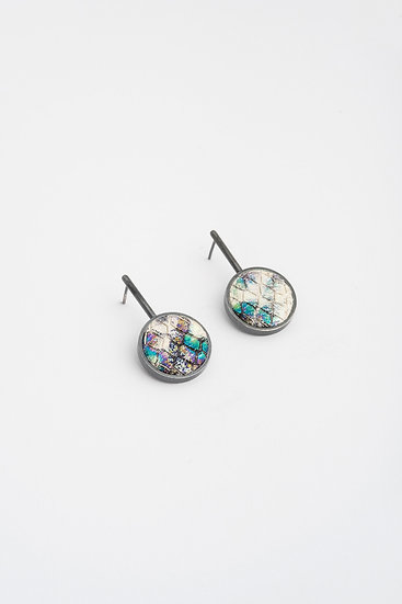 small circle earrings with embossed leather