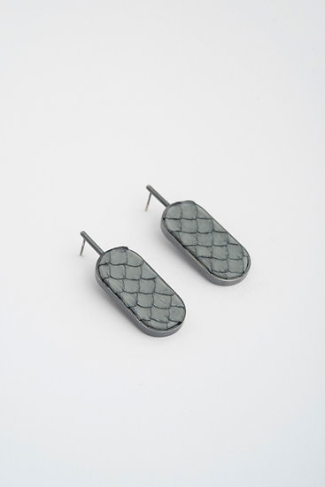 large oval earrings with snake leather