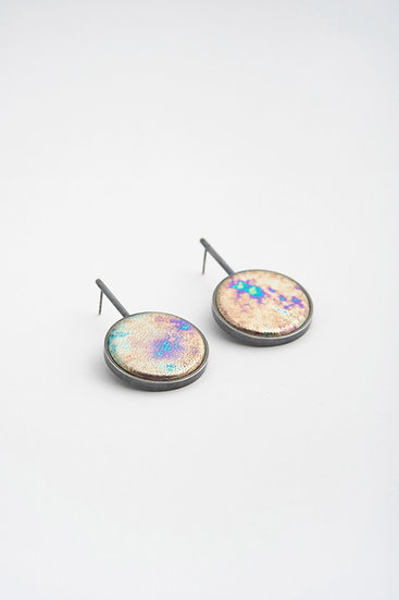 large circle earrings with metalic leather