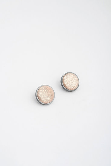 small circle stud earrings with shiny leather