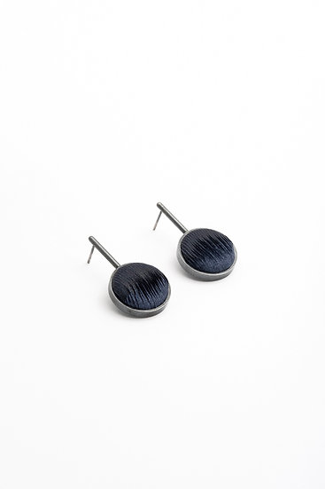 small circle earrings with striped leather