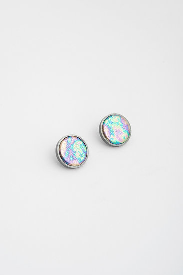 small circle stud earrings with metalic leather