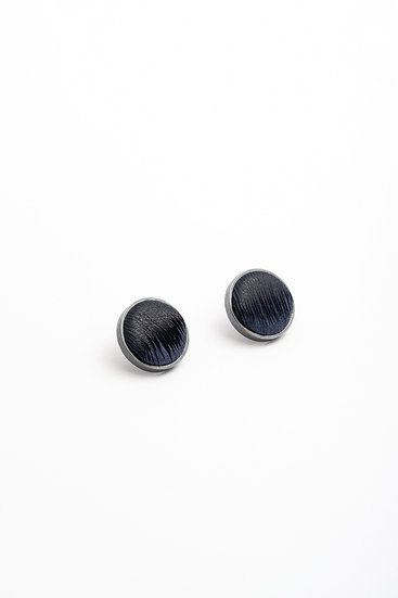 small circle stud earrings with striped leather