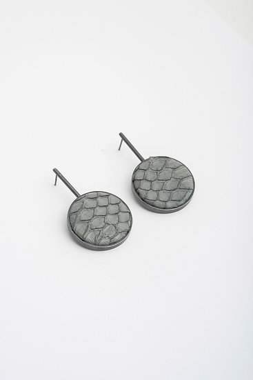 large circle earrings with snake leather