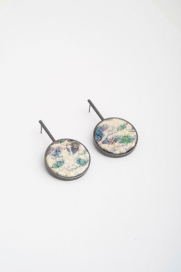 large circle earrings with embossed leather