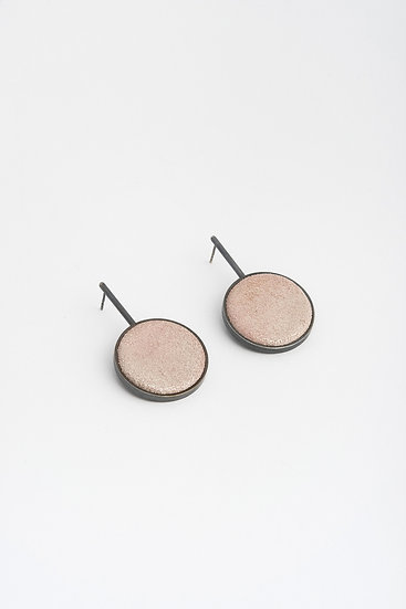 large circle earrings with shiny leather