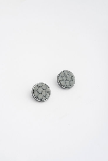 small circle stud earrings with snake leather