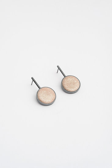small circle earrings with shiny leather