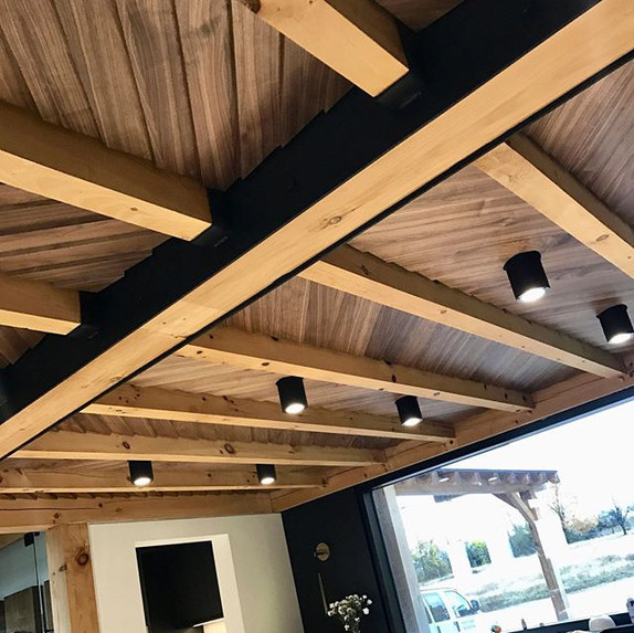 Ceilings need love too!  Angled walnut s