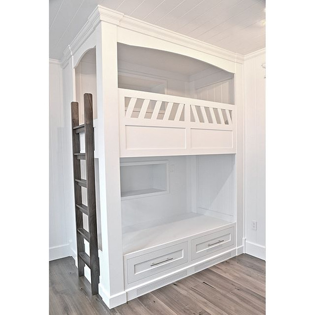 Amazing painted bunk beds with a walnut
