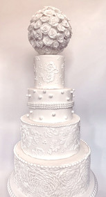 Four-Tier White Lace Wedding Cake
