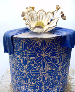 Blue and Gold Flower Cake