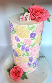 Handpainted Flower Cake