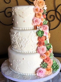Lace Wedding Cake with Edible Flowers