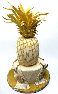 Pineapple soccer wedding cake