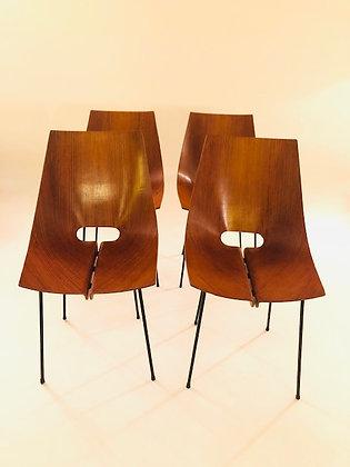 Carlo Ratti Plywood Stühle 4er Set
