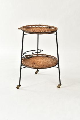 Midcentury Basket Tea Trolley