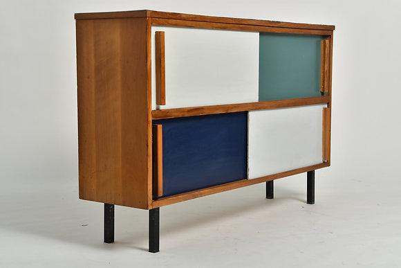 50s Sideboard mit 4 Schiebetüren
