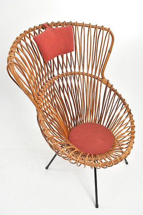 50s Rattan Lounge Chair