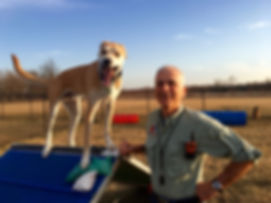 Ken with Splinter, a once aggressive dog, after special needs dog training