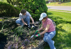 Clare and Janet at work on the Lions Head Blvd. garden near the clubhouse.  This is one of the many beautiful gardens maintained by club members. (May 2021)