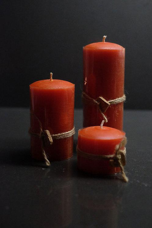 3'lü Silindir Kokulu Mum Seti - Rustik Turuncu