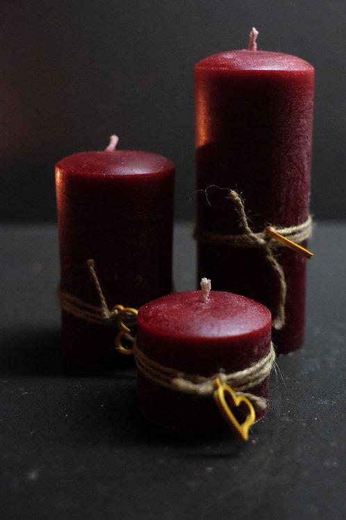 3'lü Silindir Kokulu Mum Seti Wine - Rustik Kırmızı