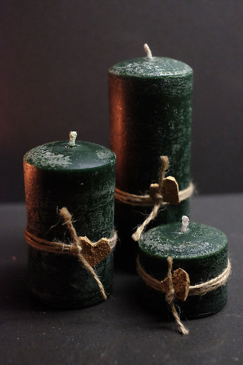 3'lü Silindir Kokulu Mum Seti Aventurine - Rustik Yeşil