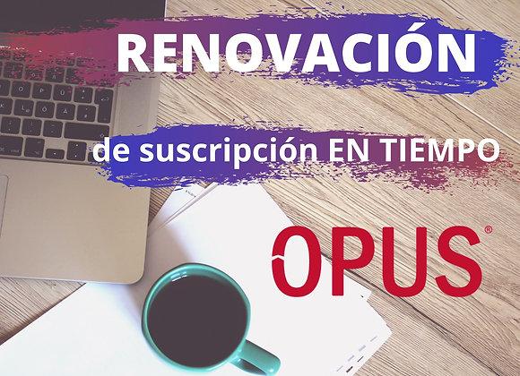 Renovación de Suscripción OPUS  En Tiempo (no incluye IVA)