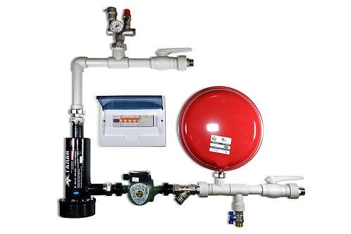 Hydrauliczny zestaw wiszący naścienny z kotłem elektrodowym Gejzer 6 do instalacji grzewczej.