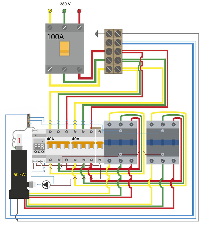 Electrical connection diagram for Galan