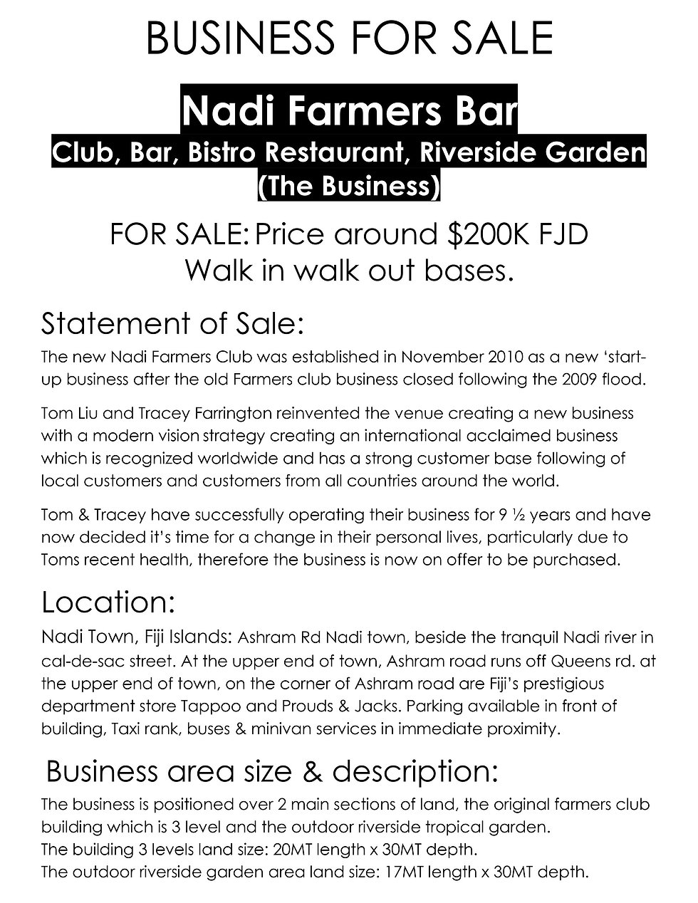 BUSINESS FOR SALE. Nadi Farmers Club, Ba