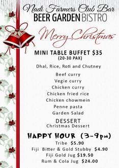 CHRISTMAS MINI TABLE BUFFET MENU. Nadi F