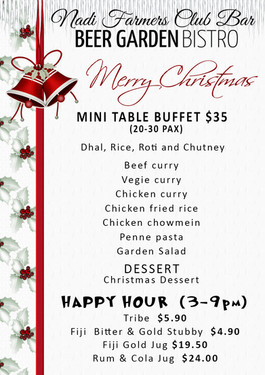 CHRISTMAS MINI TABLE BUFFET MENU. Nadi F