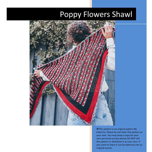 Poppy Flowers Shawl