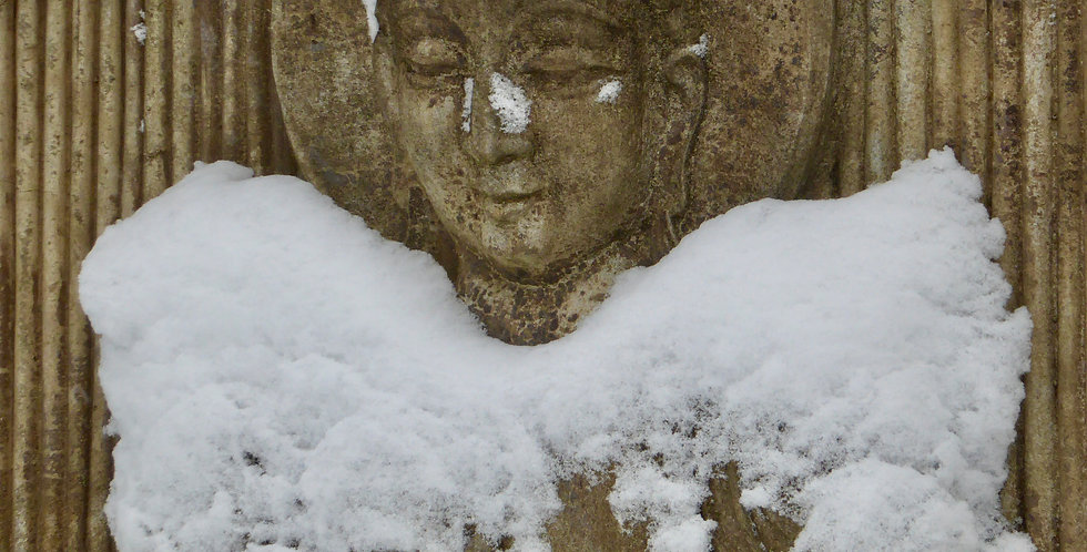 Snow Buddha print by photographer Penny Clayton