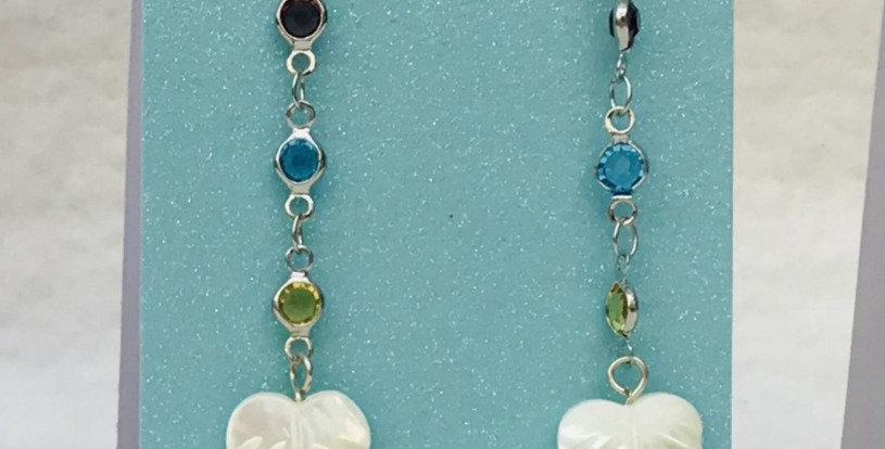 Earrings - Silver/Red stones