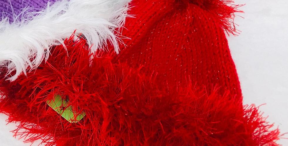 Baby Hat Red Sparkle yarn/fun fur/acrylic yarn
