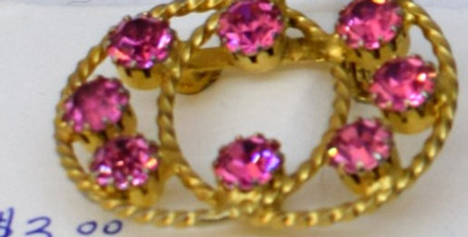 Double Circle Pin with Pink Crystals