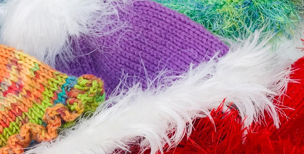 Baby Hat Purple/White feather fur/Acrylic Yarn