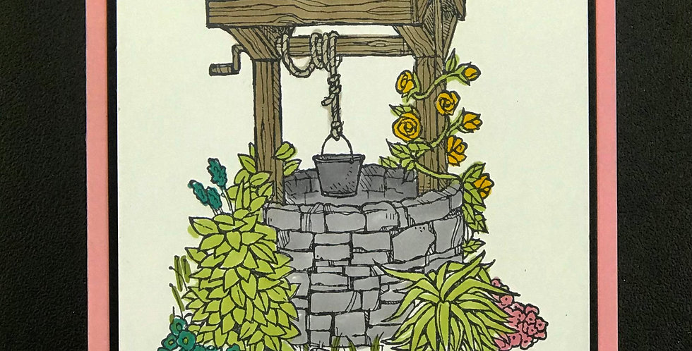 "Card, 4.25""x5.5""- Wishing Well."