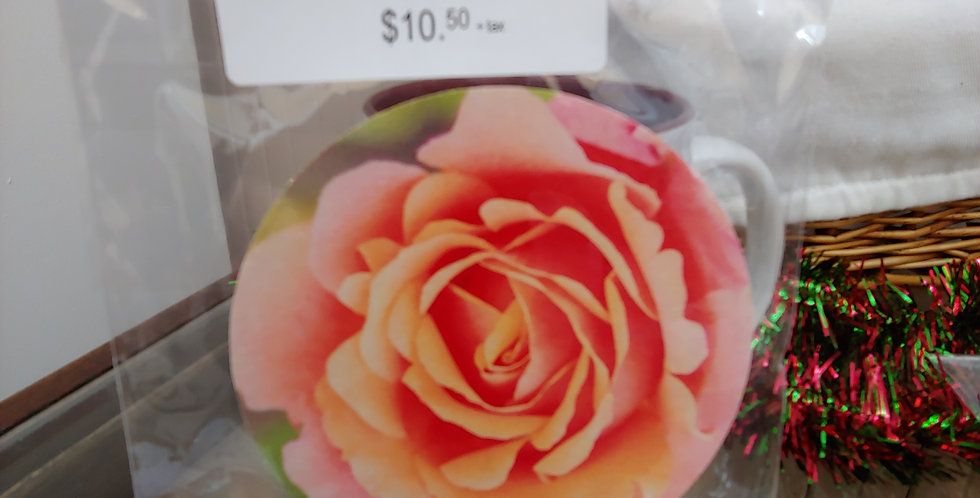 Tangerine Rose, Set of 4 Coasters