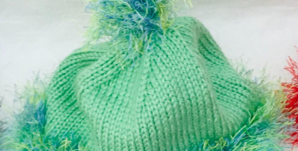 Baby Hat green/fun fur/top knot/acrylic yarn