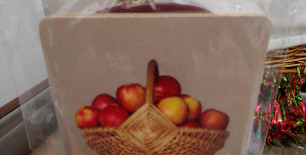 Willow Basket of Apples, Set of 4 Coasters