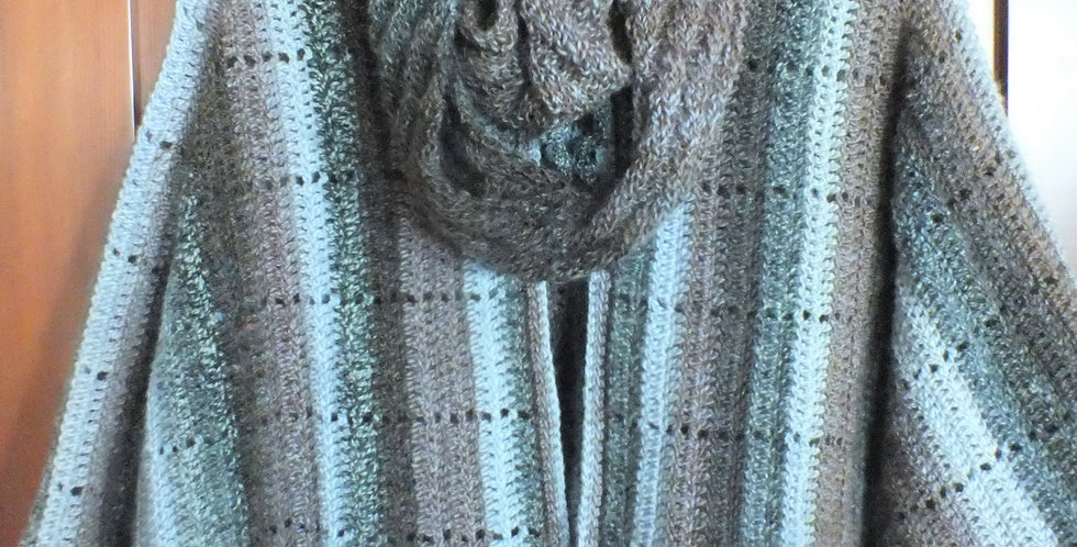 Hand Crocheted Wrap with Infinity Scarf