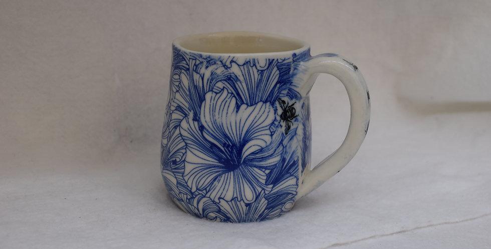 Blue Hibiscus transfer pattern mug