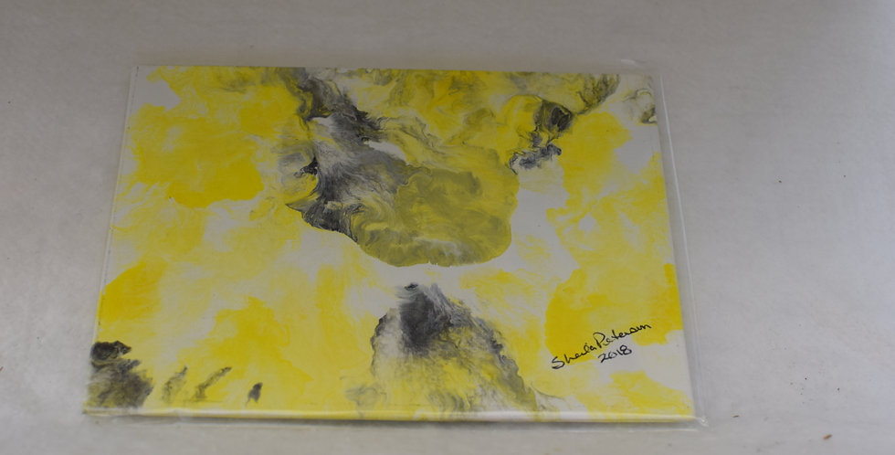 Yellow - acrylic pour - 6 x 8 on Canvas