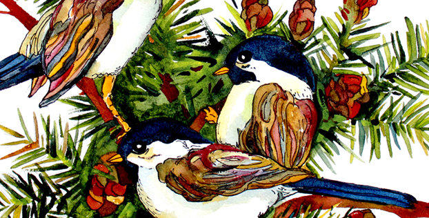 Cutting Board - 3 Chickadees